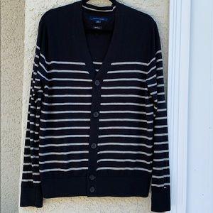 Tommy Hilfiger Blk & Grey Stripe Button Cardigan M